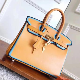 Perfect Hermes Yellow With Blue Piping Epsom Birkin 30cm Bag