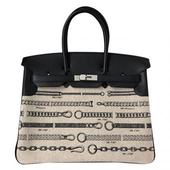 Perfect Imitation Hermes Birkin 35cm De Camp Dechainee Toile Bag
