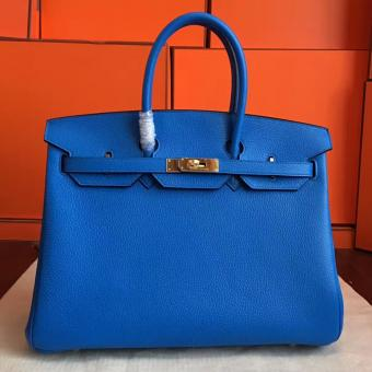 High End Hermes Blue Hydar Clemence Birkin 35cm Handmade Bag
