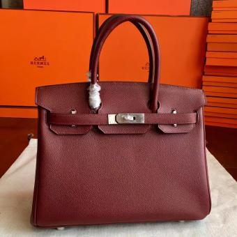 High End Hermes Bordeaux Epsom Birkin 35cm Handmade Bag