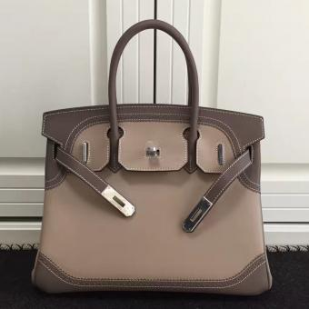 Replica Hermes Bicolor Birkin Ghillies 30cm In Beige Swift Leather