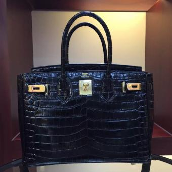 Top Quality Hermes Birkin 30cm 35cm Bag In Black Crocodile Leather