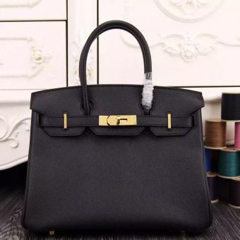 Luxury Faux Hermes Birkin 30cm 35cm Bag In Black Epsom Leather