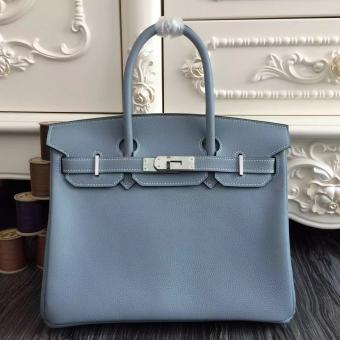 Hermes Birkin 30cm 35cm Bag In Blue Lin Clemence Leather Replica