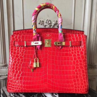 Hermes Birkin 30cm 35cm Bag In Cherry Crocodile Leather