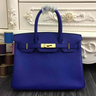 Hermes Birkin 30cm 35cm Bag In Electric Blue Clemence Leather
