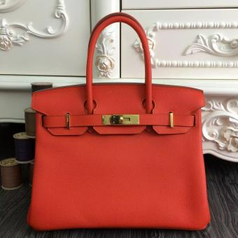 Discount Hermes Birkin 30cm 35cm Bag In Orange Clemence Leather