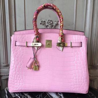 Hermes Birkin 30cm 35cm Bag In Pink Crocodile Leather
