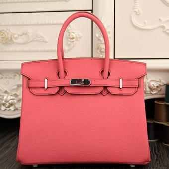 Replica Luxury Hermes Birkin 30cm 35cm Bag In Rose Lipstick Clemence Leather