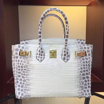 Faux Hermes Birkin 30cm 35cm Bag In White Crocodile Leather