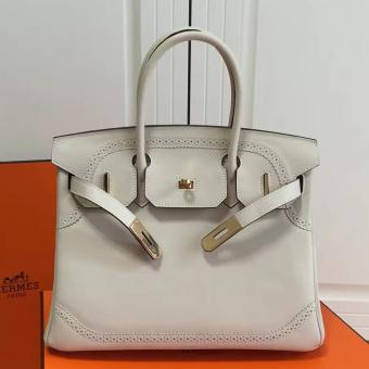 Hermes Birkin Ghillies 30cm In White Swift Leather
