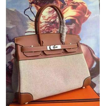 Hermes Canvas Birkin 30cm 35cm Bag With Brown Leather Replica