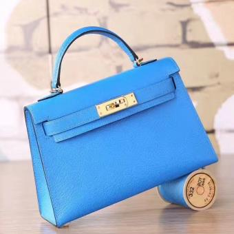 AAA Hermes Blue Hydra Chevre Kelly Mini II 20cm Handmade Bag