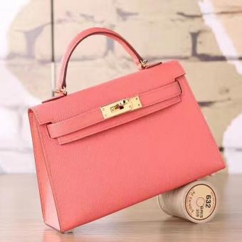 Perfect Replica Hermes Flamingo Epsom Kelly Mini II 20cm Handmade Bag