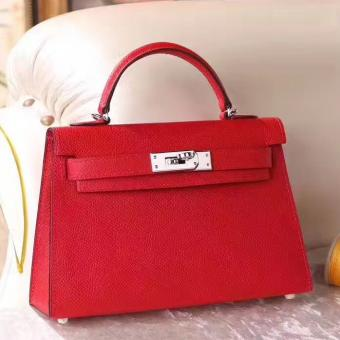 Replica Hot Hermes Red Epsom Kelly Mini II 20cm Handmade Bag