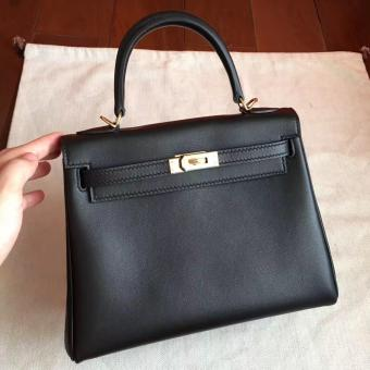 Faux Hermes Black Swift Kelly 25cm Retourne Handmade Bag