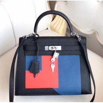 Hermes Multicolor Blocks Kelly 28cm Black Bag