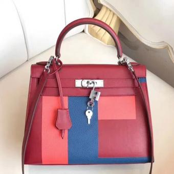 Cheap Replica Hermes Multicolor Blocks Kelly 28cm Ruby Bag