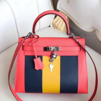 Fashion Hermes Multicolor Stripes Kelly 28cm Red Bag