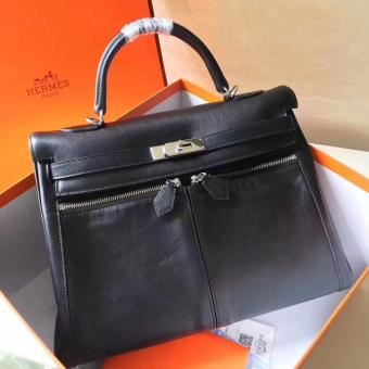 Copy Hermes Black Kelly Lakis 35cm Handmade Bag