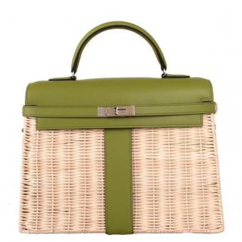Best Cheap Hermes Green Picnic Kelly 35cm Wicker Bag
