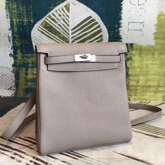 AAA Hermes Gris Asphalt Clemence Kelly Ado PM Backpack