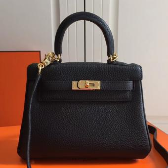 Hermes Black Clemence Kelly 20cm GHW Bag