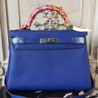Hermes Blue Electric Clemence Kelly 32cm Retourne Bag Replica