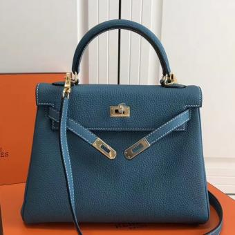 Best Cheap Hermes Blue Jean Clemence Kelly 25cm GHW Bag