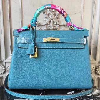 Hermes Blue Jean Clemence Kelly 28cm Bag Replica