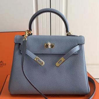 High End Replica Hermes Blue Lin Clemence Kelly 25cm GHW Bag