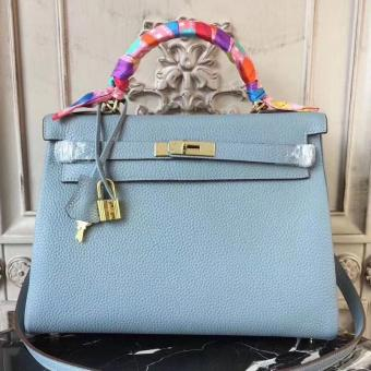 High Quality Replica Hermes Blue Lin Clemence Kelly 28cm Bag
