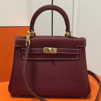 AAA Replica Hermes Bordeaux Clemence Kelly 20cm GHW Bag