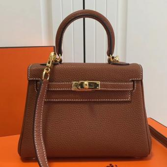 Hermes Brown Clemence Kelly 20cm GHW Bag Replica