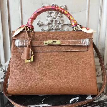 Best Cheap Hermes Brown Clemence Kelly 32cm Retourne Bag