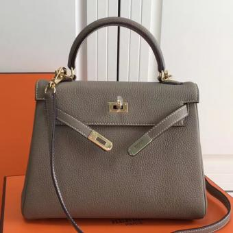 Designer Copy Hermes Grey Clemence Kelly 25cm GHW Bag