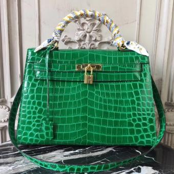 Hermes Kelly 32cm Bag In Bamboo Crocodile Leather
