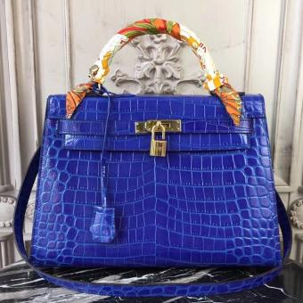 Hermes Kelly 32cm Bag In Blue Electric Crocodile Leather