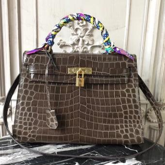 Knockoff Hermes Kelly 32cm Bag In Chocolate Crocodile Leather