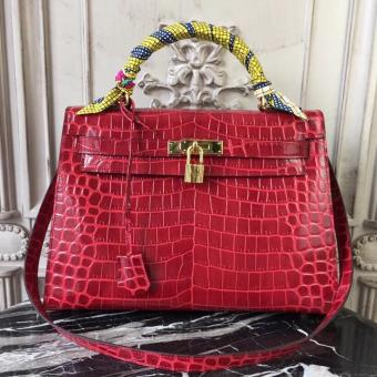 Perfect Hermes Kelly 32cm Bag In Dark Red Crocodile Leather