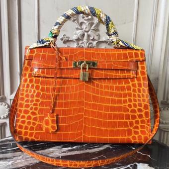 Hermes Kelly 32cm Bag In Orange Crocodile Leather Replica