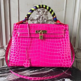 Replica Hermes Kelly 32cm Bag In Rose Red Crocodile Leather