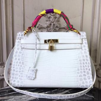 Hermes Kelly 32cm Bag In White Crocodile Leather