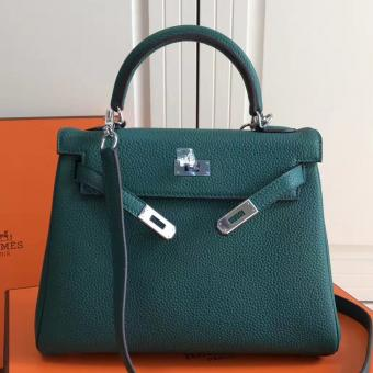 Knockoff Cheap Hermes Malachite Clemence Kelly 25cm PHW Bag
