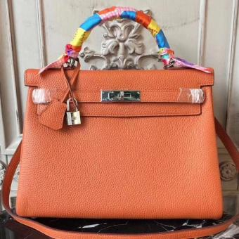 Hermes Orange Clemence Kelly 28cm Bag Replica