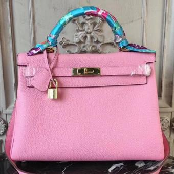 Hermes Pink Clemence Kelly 28cm Bag Replica