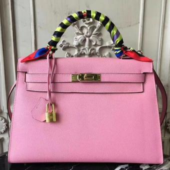 Luxury Replica Hermes Pink Epsom Kelly 32cm Sellier Bag