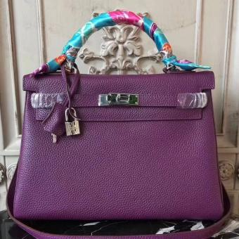 AAA Hermes Purple Clemence Kelly 28cm Bag