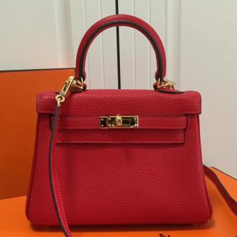 High Quality Hermes Red Clemence Kelly 20cm GHW Bag