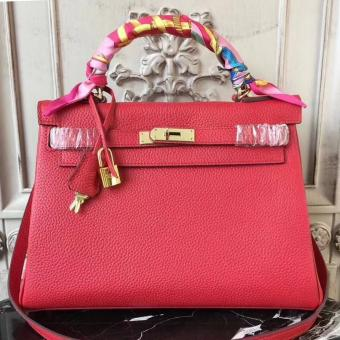 High End Hermes Red Clemence Kelly 28cm Bag